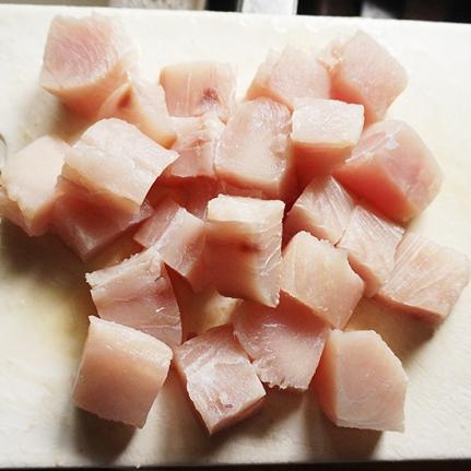 I used mahi mahi---catfish or tilapia would probably work too.