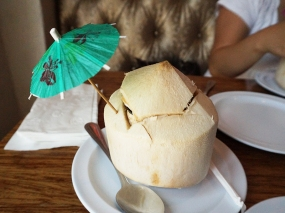 A jaunty young coconut is essential with this food (well, I guess it doesn't need to be jaunty). You need the water and the cold flesh to battle the flames.
