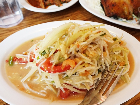 This Isaan style papaya salad with rice noodle was the first thing we asked for to be Thai hot and the waitress warned us that it would be very hot. Well, it was quite hot (and also very good) but it was almost a relief dish alongside the...