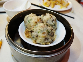 These steamed fish balls were very good and not very fishy---a little lighter texture and they would have been great.