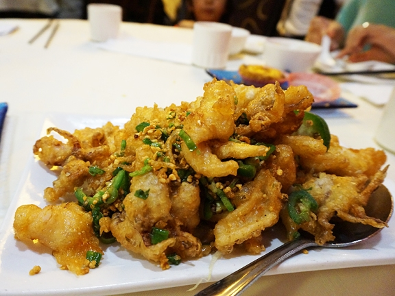 The deep fried squid were also excellent---crisply fried, no greasiness at all.