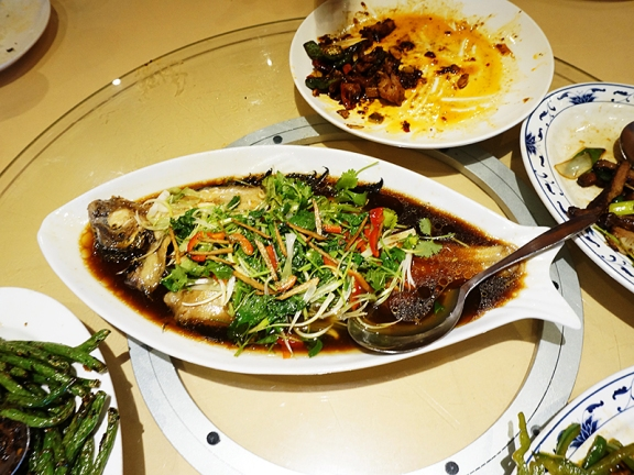 I was expecting a version of the sliced and steamed fish available everywhere else but a whole steamed flounder emerged instead. It took forever to arrive but was perfectly cooked. The flesh was delicate and complemented well by the sauce and veg. Not cheap at $29.95 (I'm not sure if the price was marked on the menu).