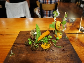 """This was part of the """"Garden"""" section and again was apparently served out of order. Anyway, most of this was quite good (the veg); some of it was terrible (the spongy pressed chicken with foie gras)."""