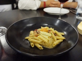 Garganelli: heirloom tomatoes, pancetta, red onion, basil, pleasent ridge cheese