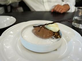 Manjari Chocolate Panna Cotta: toasted brioche ice cream, milk espuma