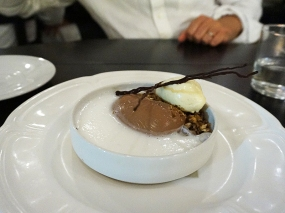 Manjari Chocolate Panna Cotta: toasted brioche ice cream, milk espuma