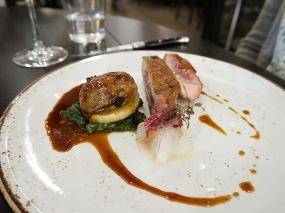 Roasted Duck Breast: kohlrabi, pickled plums, sausage, green juniper jus