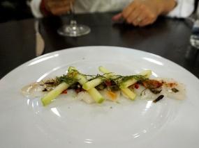 Day Boat Scallop Crudo: green apple, shiso, chilies, scallion vinaigrette