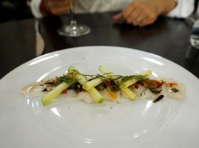 Day Boat Scallop Crudo: green apple, shiso, chilies, scallion vinaigrette