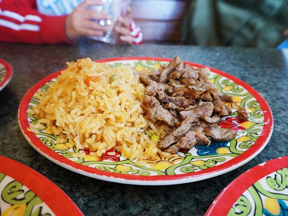 A side of carne asada and rice for our boys.