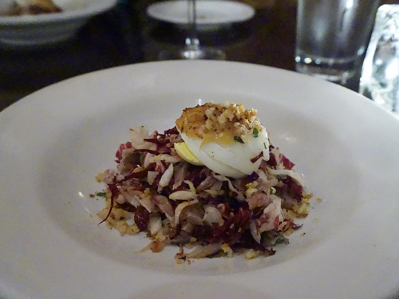 duck & radicchio salad: This was our first time trying this and it was very good indeed. The crisp bitterness of the radicchio balanced nicely with the tart dressing and the thinly sliced grilled duck. Nice mix of textures too.