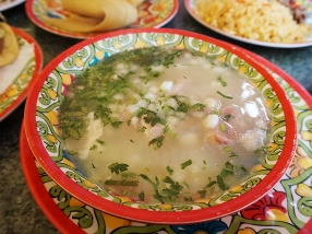 Their pozole is fine but it comes out pretty bland by default. You have to jazz it up a bit at the salsa bar.