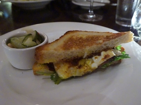 bacon egg & harrisa sandwich. This is one of their signature dishes that we've never ordered before; largely on account of my resistance to eating sandwiches for dinner. It was quite nice, and quite spicy but...