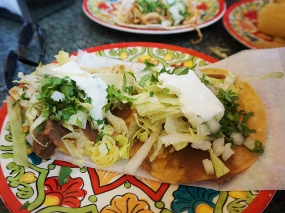 The pozole comes with two serviceable tostadas.