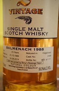 Balmenach 25, 1988, Signatory for Binny's