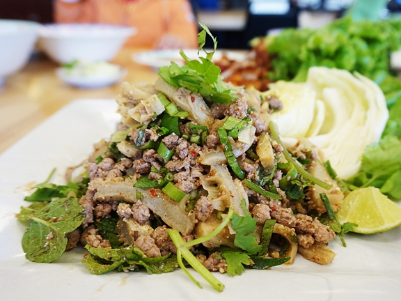 As does the larb. On our most recent visit the rice powder that is sprinkled on top was obviously scorched and it threw the whole thing off. They didn't make any fuss when we complained though and made us a fresh batch sans rice powder to go as a replacement.