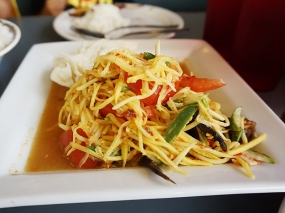 As is the papaya salad with salted crab (far less fish-saucy than the Lao version).