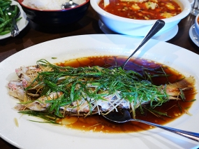 Altogether milder, this is the whole fish version of the other off-menu steamed fish fillets we usually get for the boys. The fish is steamed with soy sauce, ginger and scallions. Delicate and excellent.