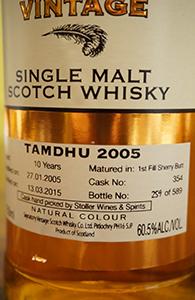 Tamdhu 10, 2005, Signatory for Stoller