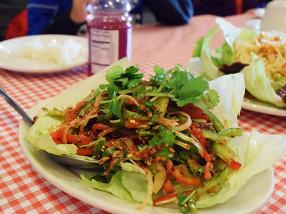 This beef salad was also decent if a little light on the beef. Both this and the papaya salad would have been better with more heat and more fish sauce funk.