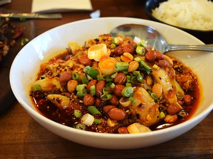 I've had some version of this dish of hacked up chicken on the bone in a hot-sweet-sour chilli sauce at a number of places over the years: this is hands-down the best I've had. High quality chicken too.
