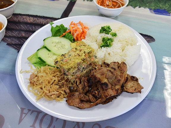 This comes with three items: grilled pork, shredded pork and what they call steamed meatloaf.