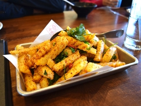 We started with these fries. Al dente and dusted liberally with ground chiles and Sichuan peppercorn, these were excellent (and would have been better still with beer). So much better than the version at Grand Szechuan in Minneapolis, which are just regular french fries in chilli oil.