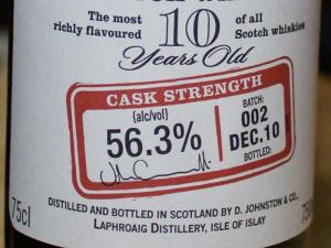 Laphroaig 10 CS, Batch 002 Label