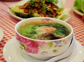 The larb came with a small bowl of this soup for some reason. Inoffensive.