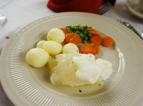 And the lutefisk. I've described it above. It was served with cream sauce and drawn butter: our table companion told us one is the Norwegian accompaniment and one the Swedish but I can't remember which is which. I will single out for praise the boiled potatoes.