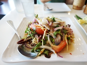 This papaya salad with blue crab was very good.