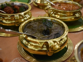 This unattractive sludge is a classic Andhra dish of mutton (goat) cooked with gongura, a sour green.