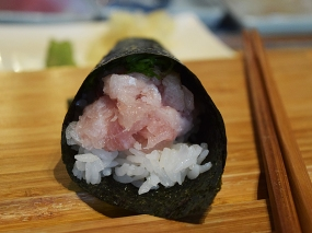 And I got the hamachi handroll, which was also good.