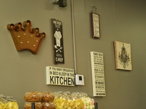 Lots of kitschy signs on the walls and the counter.