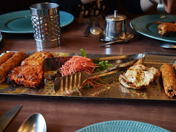 The kabab platter with chicken malai tikkas, Amritsari fish tikkas and Peshawari kabab (seekhs basically). All good but the seekhs were a highlight.