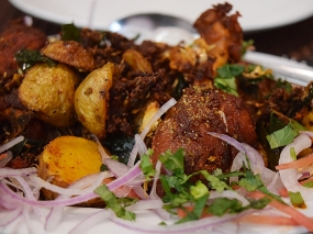 This was the first dish brought out and it was a bit of a disappointment. The flavours were fine but the chicken (kozhi) was over-fried and too hard. We noted this to the manager and when the bill came it was no longer on it. The potatoes were very good though.