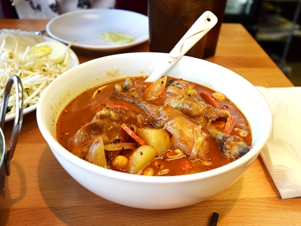 Available with beef or chicken; we opted for the chicken. This is hands-down the best massamun curry I have ever had. Not cloying in the slightest, with sour and sweet notes perfectly harmonize with the heat creeping up from below, and little bursts of cardamom seed.