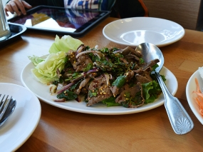 In the nam tok family in terms of flavour, the liver was cooked well to medium and the whole had a nice kick, which cut through the more cloying liver.