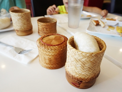 Sticky rice to scrape the heat off our tongues.
