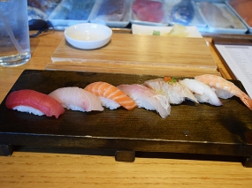 Seven pieces of nigiri that are worth more than $13: bigeye tuna, hamachi/yellowtail, sake/salmon, tai/snapper, albacore, tako/octopus, ebi/shrimp. Only the octopus and shrimp were indifferent.