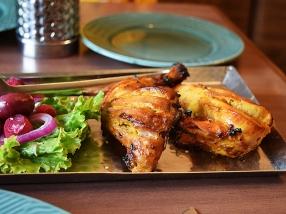 Closeup of the tandoori chicken. Note the non-neon red colour.