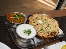 This baingan (eggplant) bharta, I am told, was quite good in a home-kitchen style. I did taste the radish and cucumber raita it came with and it was very good.