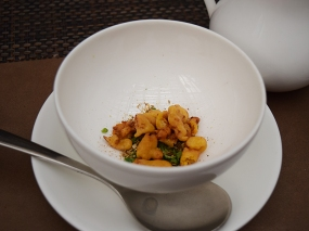 This carrot soup is new. Served in the modern restaurant style with croutons in the bowl (cauliflower croutons).