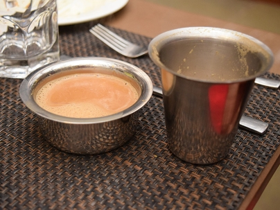 Filter coffee as enjoyed by a South Indian member of the party at one lunch.