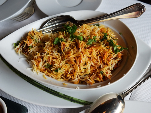 Pulao with morels and pine nuts.