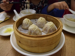 And there's no better way to start recovering from a redeye than with freshly made, perfect soup dumplings. The wrappers were great, the broth inside was great, the filling was great. However, these were still only the third best XLB we had on the trip.