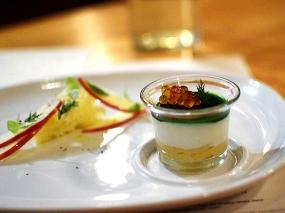 Artic char mousse with crème fraiche, apples, brioche, and trout roe