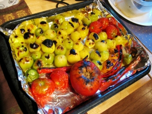 Charred Tomatoes, Tomatillos and Peppers