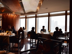 Tables with their famous view of Victoria Harbour are in great demand and, alas, we couldn't get one.