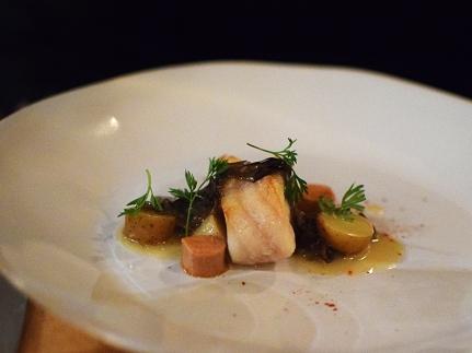 Monkfish with fingerling potato confit, seaweed, and foie de mar
